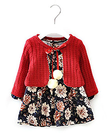 Pre Order Petite Kids Full Sleeves Cardigan Dress Floral Print - Red