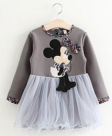 Pre Order Petite Kids Full Sleeves Dress Minnie Applique - Grey