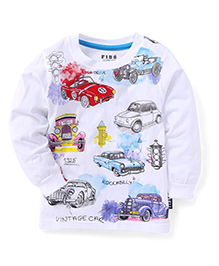 Fido Full Sleeves Multi Car Print T-Shirt - White