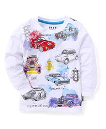 Fido Full Sleeves Multi Car Print T-Shirt - White