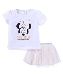 Fox Baby Top And Skirt Set Minnie Mouse Print - White