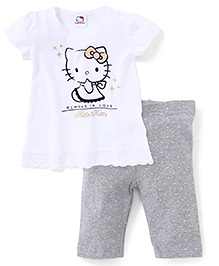 Fox Baby Short Sleeves Top And Leggings Kitty Print - White Grey