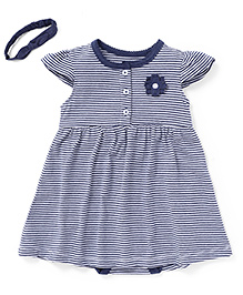 Fox Baby Cap Sleeves Stripe Frock With Attached Bloomer And Headband Flower Applique - Blue