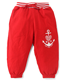 Fido Full Length Legging With Drawstring Anchor Print - Red