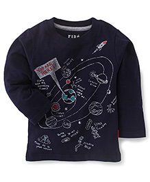 Fido Full Sleeves T-Shirt You Are Here Print - Navy Blue