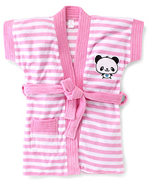 Pink Rabbit Short Sleeves Stripes Bath Robe With Panda Patch - Pink