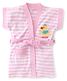 Pink Rabbit Short Sleeves Stripes Bath Robe With Duck Patch - Pink