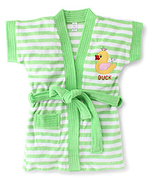 Pink Rabbit Short Sleeves Stripes Bath Robe With Duck Patch - Green