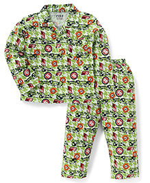 Fido Full Sleeves Front Open Night Suit Hot Cars Print - Green
