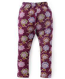 Fido Full Length Floral Print Leggings - Maroon