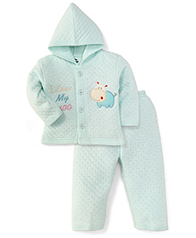 Little Darling Full Sleeves Hooded Winter Suit - Aqua