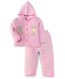 Little Darling Full Sleeves Hooded Winter Suit Giraffe Print - Pink