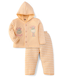 Little Darling Full Sleeves Hooded Winter Suit Giraffe Print - Butter Yellow