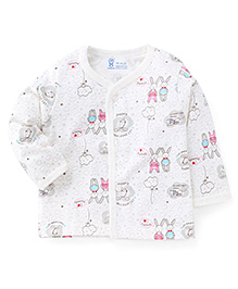 Pink Rabbit Full Sleeves Front Open Printed Vest - Off White Pink