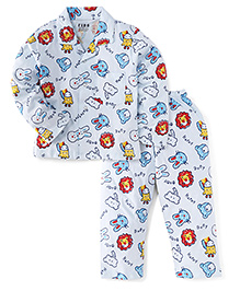 Fido Full Sleeves Night Suit Happy Baby Print - White & Blue