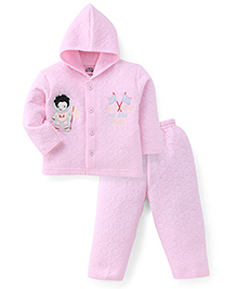 Little Darling Full Sleeves Hooded Winter Hooded T-Shirt and Pant - Pink