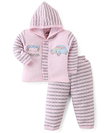 Little Darling Full Sleeves Hooded Winter Suit - Pink