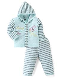 Little Darling Full Sleeves Hooded Winter Suit - Aqua