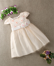 Mini World Party Wear Baby  Dress - White & Peach