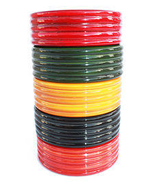Aatike Wooden Choodiyan Multicolor - Set Of 5