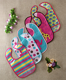 Luvable Friends Animal Printed Set Of 5 Bibs - Multicolour