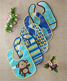 Luvable Friends Monkey & Banana Printed Set Of 5 Bibs - Multicolour