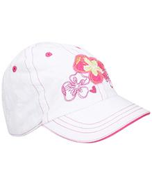 Boutchou Flower Print Cap - White