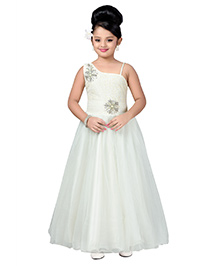 Aarika One Shoulder Party Wear Ball Gown - Cream