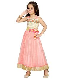 Aarika Yoke Embroidered Gown - Peach