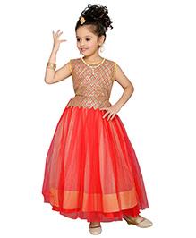 Aarika Round Neck Flower Applique Gown - Red