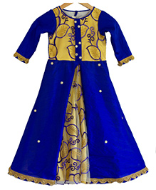 Flutterbows Designer Ethnic Gown - Blue & Golden