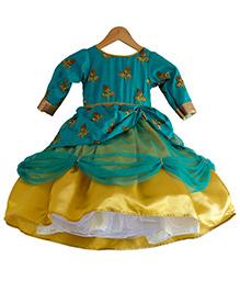 Flutterbows Designer Kiara Ethnic Gown - Green & Golden