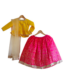 Flutterbows Designer Contemporary Ghagra Choli - Pink & Yellow