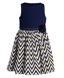 Toy Balloon Zig Zag Printed Sleeveless Crepe Frock - Blue