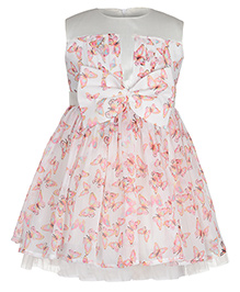 Toy Balloon Sleeveless Frock Butterfly Print - Pink And White
