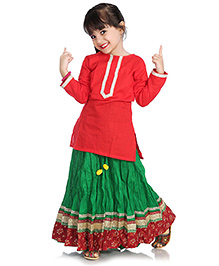 Little Pockets Store Lehenga With Kurti Top - Red And Green