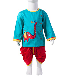 Tiber Taber Full Sleeves Kurta And Dhoti Elephant Embroidery - Turquoise Blue Red
