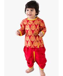 Tiber Taber Full Sleeves Kurta And Dhoti Leaves Print - Red