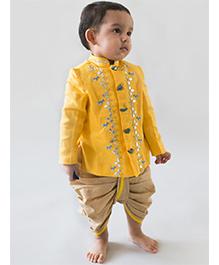 Tiber Taber Full Sleeves Kurta And Dhoti Bird Design - Beige & Yellow