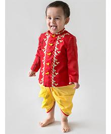 Tiber Taber Full Sleeves Kurta And Dhoti Bird Design - Red Yellow