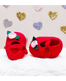 D'chica Snug & Warm Woollen Booties - Red