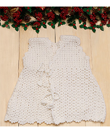 D'chica Sleeveless Woollen Dress With Front Tie Up - White