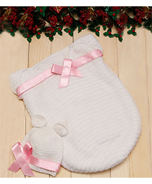D'chica Woollen Baby Cocoon With Cap With Bow Applique - White