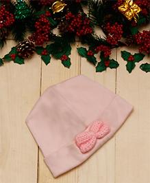 D'chica Cotton Cap Bow Applique - Pink