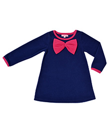 CrayonFlakes Super Soft & Warm Straight Polar Fleece Dress - Navy Blue