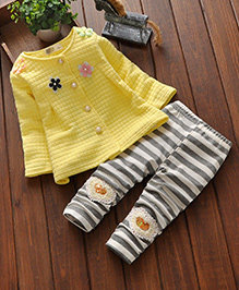 Pre Order - Little Mantra Floral Print Top & Pant Set - Yellow