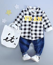 Pre Order - Little Mantra Checks Shirt & Pant Set - White