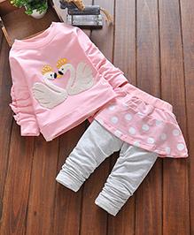 Pre Order - Little Mantra Top Skirt & Legging Set - Pink