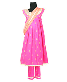 Hugsntugs Embroidered Sleeveless Suit With Dupatta - Pink