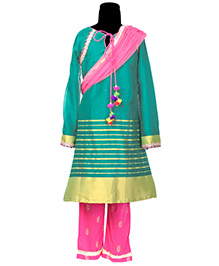 Hugsntugs Suit With Border & Bottom - Green & Pink
